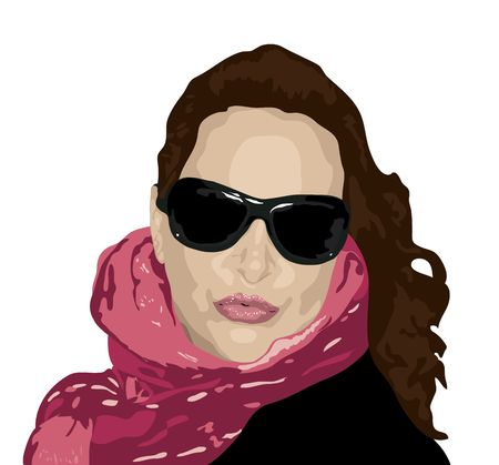 illustration of woman in sunglasses and scarf illustration