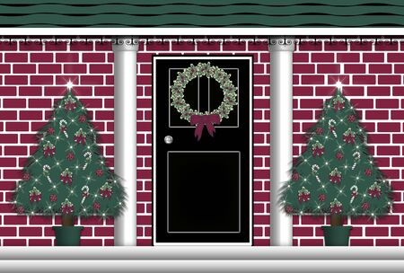 holiday celebrations: illustration of front door with Christmas wreath