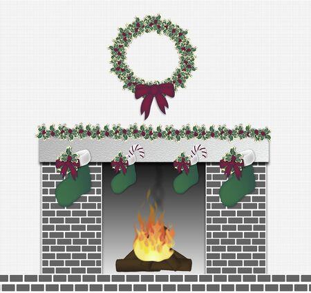 illustration of grey brick festive fireplace illustration