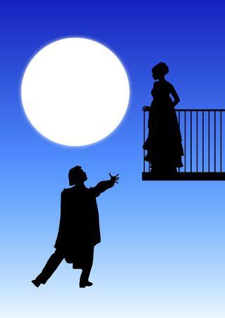 silhouet van Romeo en Juliet balkon scene