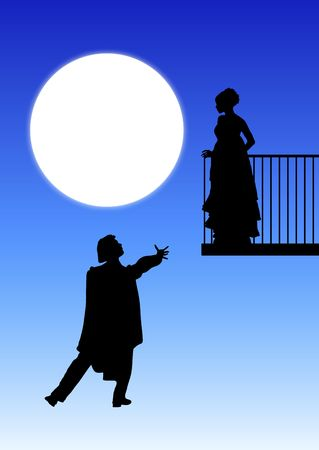 silhouette of Romeo and Juliet balcony scene Stock Photo