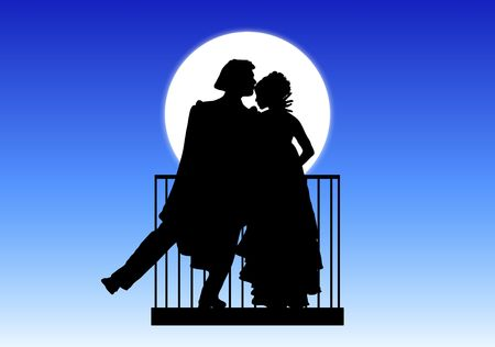 forehead: silhouette of Romeo and Juliet balcony scene Stock Photo