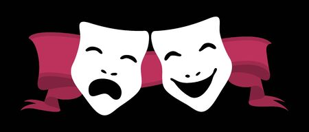 illustration of theater masks and red ribbon illustration