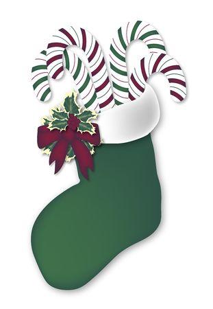 illustration of candy cane filled green stocking illustration