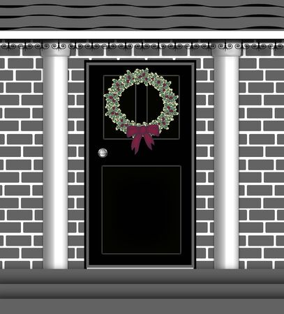 front porch: illustration of front door with Christmas wreath