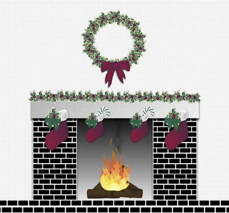 mantle: illustration of black brick festive fireplace