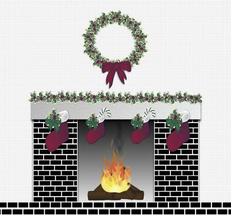illustration of black brick festive fireplace
