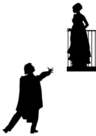 serenata: silueta de Romeo y Julieta balc�n escena Foto de archivo