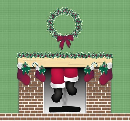 illustratie van Santa komende door de schoorsteen