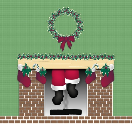 illustration of Santa coming down the chimney illustration