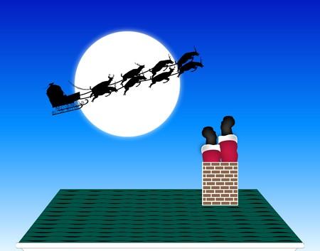 illustration of Santa stuck down the chimney illustration