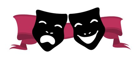 frown: illustration of theater masks and red ribbon