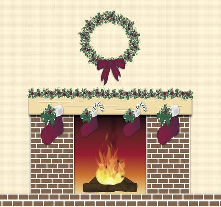 illustration of brown brick festive fireplace illustration