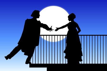 theater man: silhouette of Romeo and Juliet balcony scene Stock Photo