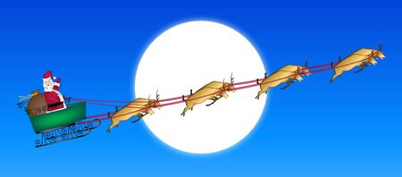 illustration of Santa and reindeer across moon illustration