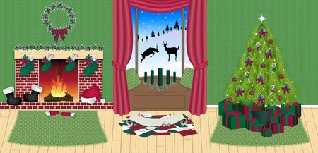 illustration of Santas house in north pole illustration