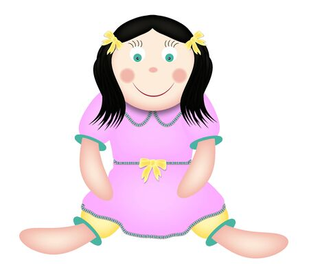 illustration of cute toy doll in pink dress
