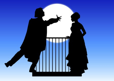 romeo and juliet: silhouette of Romeo and Juliet balcony scene Stock Photo