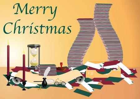 illustration of Santas mailroom with text illustration