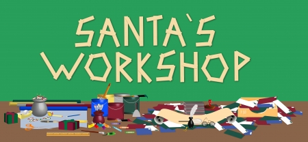 illustration of Santas workshop