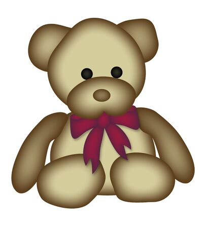 illustration of teddy bear with red bow