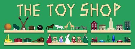 toy shop: illustrazione scaffali negozio di giocattoli Archivio Fotografico
