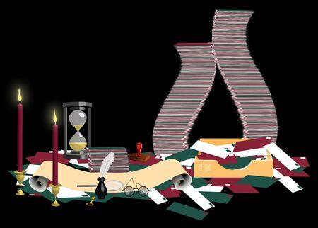 mailroom: illustration of Santas mailroom on black
