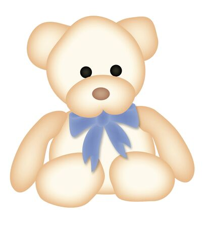 illustration of teddy bear with blue bow