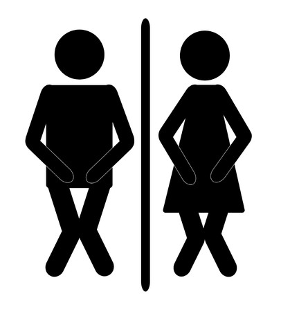 funny male and female bathroom sign with dividing line