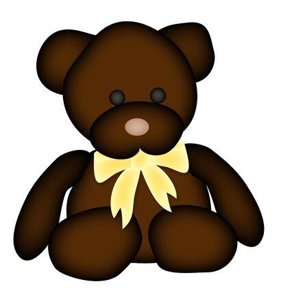 illustration of teddy bear with yellow bow 版權商用圖片