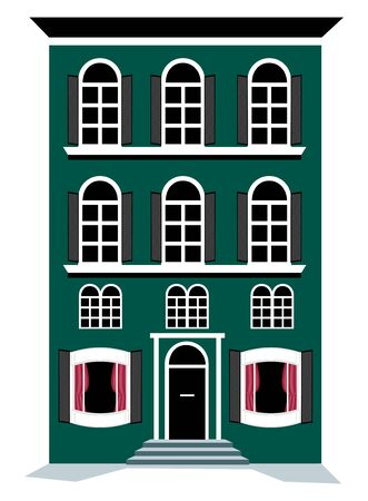 residential homes: illustration of city apartment building on white