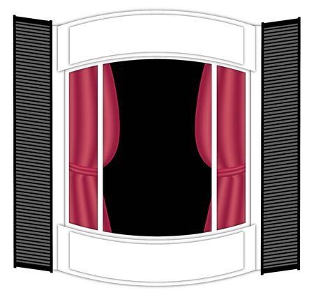 Illustration de la grande baie vitrée avec des rideaux Banque d'images - 4312633