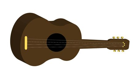 illustration of brown guitar on white background