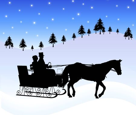 horse sleigh: silhouette of couple in horse drawn sleigh Stock Photo
