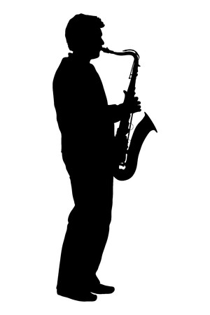 silhouette of man playing the saxophone
