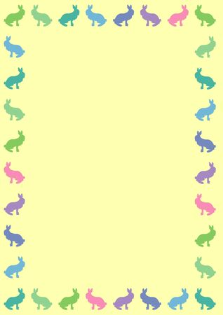 border silhouette of coloured rabbits on yellow Stock Photo - 4588295