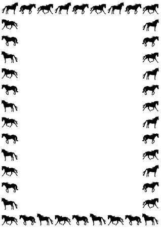 animal border: border silhouette of horses on white