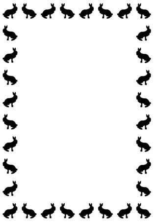 border silhouette of bunny rabbits on white Stock Photo - 4593479