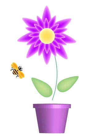 illustration of flower pot and bumble bee Stock Photo