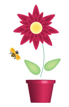 feelers: illustration of flower pot and bumble bee Stock Photo