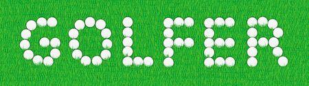 driving range: illustration of golfer sign on golf balls Stock Photo