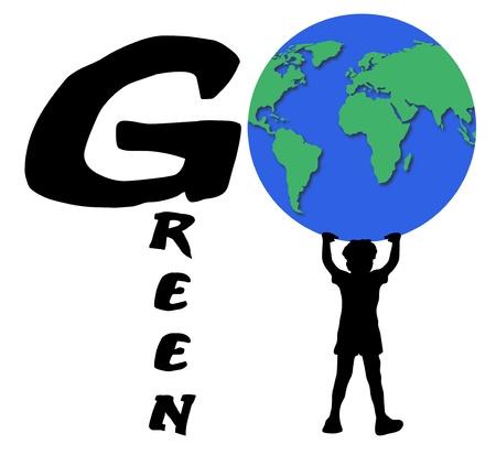 Illustration of boy holding the world spelling go green Stock Illustration - 8841673