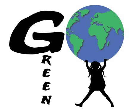 carbon footprint: Illustration of girl holding the world spelling go green Stock Photo