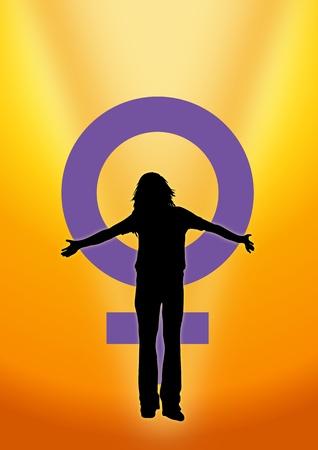 krachtige vrouw: Illustratie van de vrouw en venus symbool om te geven internationale vrouw dag Stockfoto