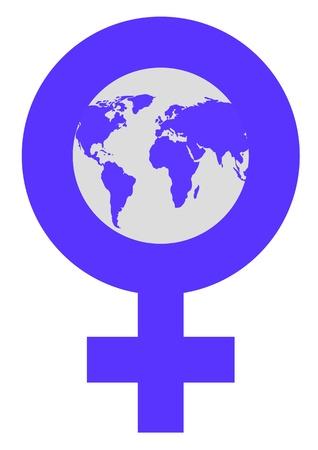 Illustration of world globe in venus symbol to represent International Womens Day illustration