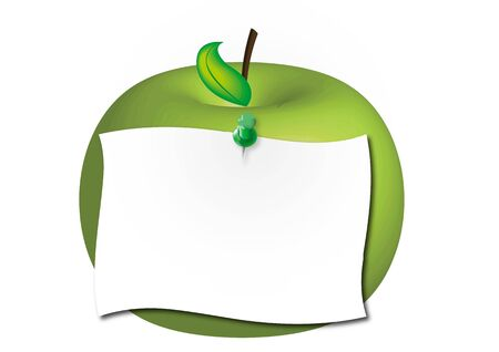 Illustration of blank paper pinned on green apple