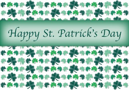 Pattern illustration of clovers with Happy St. Patrick's Day text Stock Illustration - 9295963