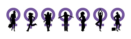freedom woman: Silhouettes of women and venus symbol to represent International Womans Day