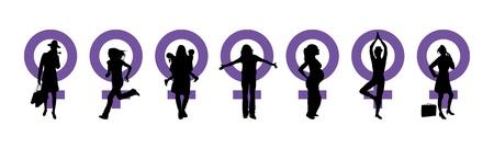 lady liberty: Siluetas de mujeres y venus s�mbolo para representar el d�a internacional de la mujer Foto de archivo