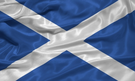 scottish flag: Sventolando la bandiera di seta della Scozia Archivio Fotografico